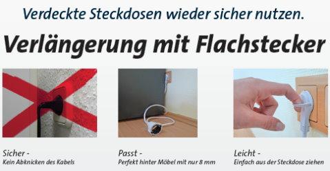 schutzkontaktverl ngerung mit angespritztem flachstecker 2 m kabell nge h05vv f 3g1 5qmm kopp. Black Bedroom Furniture Sets. Home Design Ideas