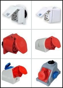 400 V - Unterputz-/Aufputz-CEE-Wand-Steckdosen und -Stecker