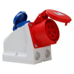 16 A - Aufputz-CEE-/Schutzkontakt-Kombi-Wand-Steckdose mit Klappdeckel - IP 44 - KOPP rot/blau/grau - (15,83 Euro)
