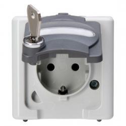 Steckdose mit Sicherheitsschloss-Klappdeckel - AP-Feuchtraum - Serie Blue Electric IP 44 - KOPP Schließung - 0 - grau - (29,96 Euro)