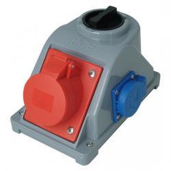 16 A - Aufputz-CEE-/Schutzkontakt-Kombi-Wand-Steckdose - mit Schalter für die Schutzkontaktsteckdose - IP 44 - KOPP rot/blau/grau - (70,37 Euro)