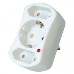 Europa- und Schutzkontakt-Adapter mit Geräteschutz-Überspannungsfilter - für 2 Europa- und 1 Schutzkontakt-Stecker - KOPP arktis-weiß - (11,86 Euro)