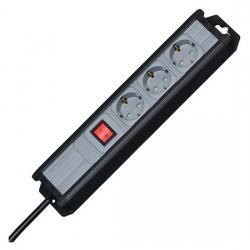 3-fach - MULTIversal - anschraubbare Steckdosenleiste - mit beleuchtetem Schalter - KOPP schwarz-silber - (21,70 Euro)