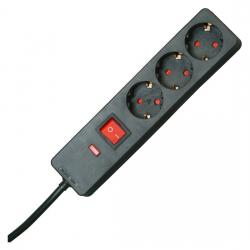3-fach - Standard-Steckdosenleiste - mit Überspannungsschutz und Schalter - KOPP schwarz - (18,31 Euro)