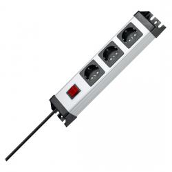 3-fach - POWERversal - anschraubbare Steckdosenleiste - mit beleuchtetem Schalter - KOPP silber-schwarz - (28,23 Euro)