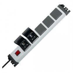 5-fach - POWERversal - anschraubbare Steckdosenleiste - mit Klappdeckel und beleuchtetem Schalter - KOPP silber-schwarz - (57,30 Euro)