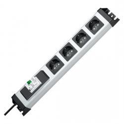 4-fach - POWERversal - anschraubbare Steckdosenleiste - mit FI/LS-Schalter B 16 A/30 mA - KOPP silber-schwarz - (110,54 Euro)