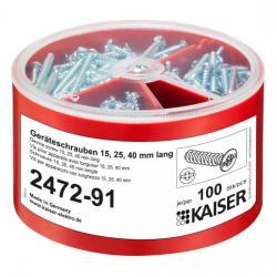 Geräteschrauben-Box mit je 100 Stück - 15, 25 und 40 mm lang - KAISER 1 Stück - (42,99 Euro)