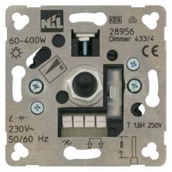 Dreh-Dimmer-Einsatz für Glüh-/HV-Halogenlampen - mit Dreh-Ausschalter - 60-400 W - SOLOGIC - N & L Phasenanschnitt - 60-400 W - (18,73 Euro)