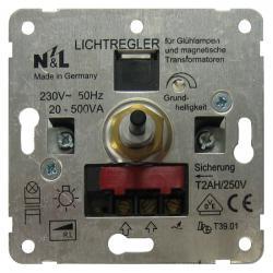 Dreh-Dimmer-Einsatz für Niedervolt-Halogenlampen - für konvent. Trafos - 25-500 VA - 60-600 W - SOLOGIC - N & L Phasenanschnitt - 25-500 VA - 60-600 W - (36,29 Euro)