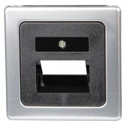 Abdeckung für UAE-Anschlußdosen-Einsätze - Serie Vision - KOPP stahlfarben (Metall-Oberfläche) - (8,31 Euro)
