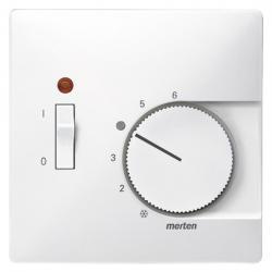 Zentralplatte für Raumtemperaturregler-Einsatz - mit Schließerkontakt und Schalter - System Fläche - MERTEN polarweiß (Thermoplast glänzend) - (10,16 Euro)