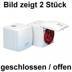 16 A - Aufputz-CEE-Wandsteckdose mit Klappdeckel - IP 44 - JÄGER reinweiß (RAL 9010) - (48,01 Euro)