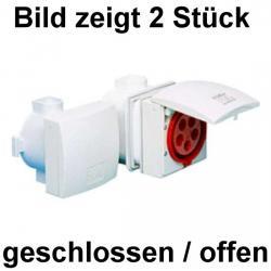 16 A - Unterputz-CEE-Wandsteckdose mit Klappdeckel - IP 44 - JÄGER reinweiß (RAL 9010) - (35,19 Euro)