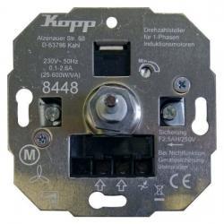 Drehzahlsteller mit Druck-Ausschalter für 1-Phasen-Induktionsmotoren - 25 - 600 W/VA - Einsatz einzeln - (nur für Ersatzbedarf) - KOPP ohne Abdeckung - (59,36 Euro)