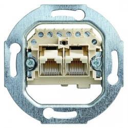 UAE-Anschlußdosen-Einsatz - 2 parallelgeschaltete Steckanschlüsse 2 x 8(8) polig - BUSCH-JAEGER weiß (cremefarbenes elektroweiß) - (22,21 Euro)
