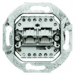 UAE-Anschlußdosen-Einsatz - 2 getrennte Steckanschlüsse 8/8 (8/8) polig - BUSCH-JAEGER weiß (cremefarbenes elektroweiß) - (21,96 Euro)