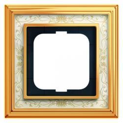 1-fach - Abdeckrahmen - Messing poliert mit Dekor-Aufdruck - Serie Busch-Dynasty - BUSCH-JAEGER Messing poliert Dekor / elfenbeinweiß - (38,45 Euro)