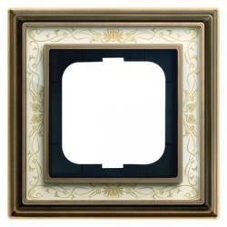 1-fach - Abdeckrahmen - Messing antik mit Dekor-Aufdruck - Serie Busch-Dynasty - BUSCH-JAEGER Messing antik Dekor / elfenbeinweiß - (38,45 Euro)