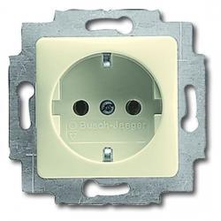 Steckdosen-Einsatz mit Abdeckung für Zwischenrahmen 50 x 50 mm - Serie Busch-Duro 2000 SI/SI Linear - BUSCH-JAEGER weiß (cremefarbenes elektroweiß) - (6,67 Euro)