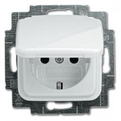 Steckdosen-Einsatz mit Klappdeckel - Serie Reflex SI/SI Linear - BUSCH-JAEGER alpinweiß (helles reinweiß) - (10,63 Euro)