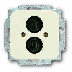 Lautsprecher-Steckverbinder-Einsatz mit Zentralscheibe - Serie Busch-Duro 2000 SI/SI Linear - BUSCH-JAEGER weiß (cremefarbenes elektroweiß) - (14,96 Euro)