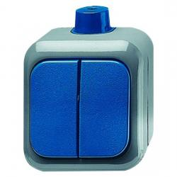 Serienschalter - AP-Feuchtraum - Serie Busch-Duro 2000 WDI - IP 66 - BUSCH-JAEGER grau/blaugrün - (35,85 Euro)