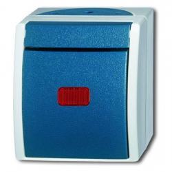 Kontroll-Aus-/Wechselschalter beleuchtet mit Glimmlampe und roter Kalotte - Serie Ocean IP 44 - BUSCH-JAEGER grau/blaugrün - (23,65 Euro)